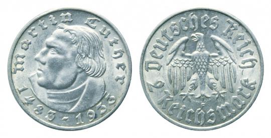 2 Reichsmark Martin Luther Silbermünze (625/1.000)
