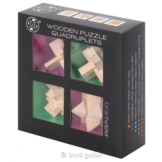 4er-Set mit 3-D-Holzpuzzles.