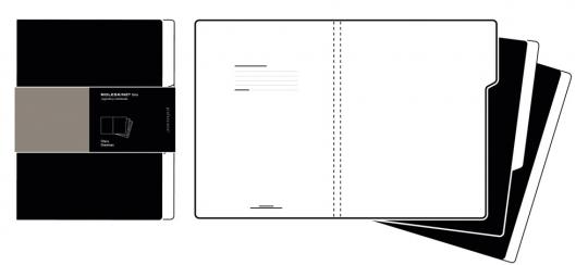 3 »Moleskine«-Registermappen, schwarz.
