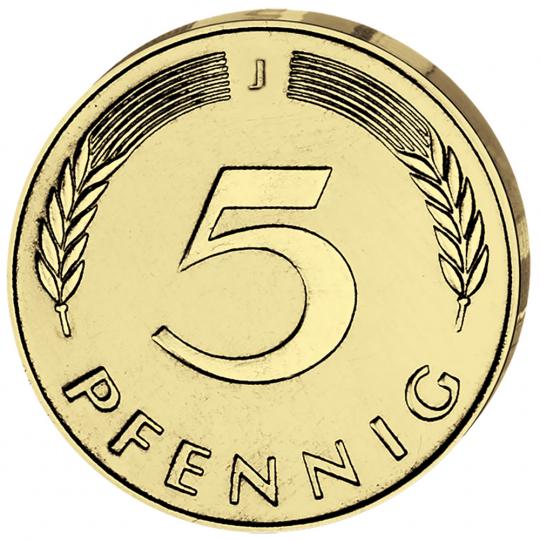 4er-Münzsatz 5 Pfennig - Prägejahr 1949