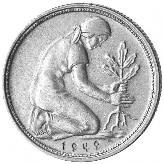 4er-Münzsatz 50 Pfennig - Prägejahr 1949