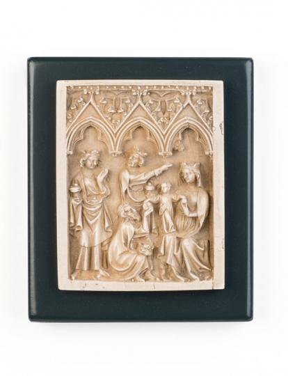 Anbetung der Könige Relief. Frankreich, um 1350.