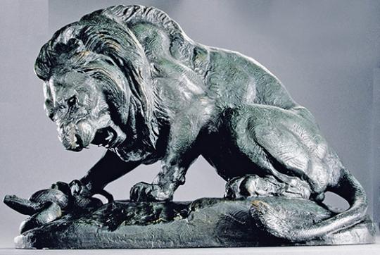 Antoine-Louis Barye. Löwe mit Schlange.