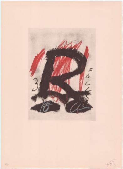 Antoni Tàpies. Farblithografie »Clau del Foc V«, Galfetti 356 (1973).
