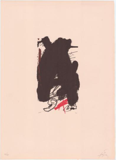 Antoni Tàpies. Farblithografie »Clau del Foc VI«, Galfetti 357 (1973).