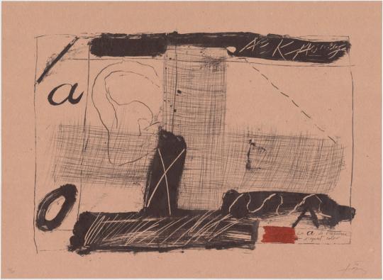 Antoni Tàpies. Farblithografie »Llambrec material II«, Galfetti 540 (1975).