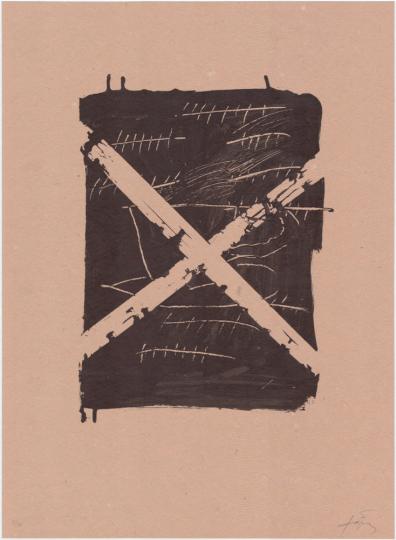 Antoni Tàpies. Farblithografie »Llambrec material VIII«, Galfetti 546 (1975).