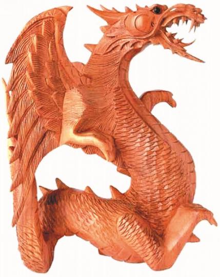 Asiatischer Drache aus Holz 15 cm