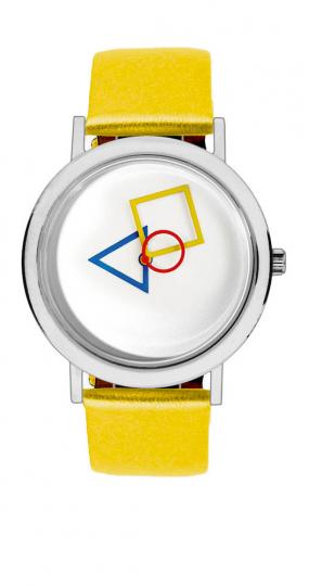 Bauhaus-Armbanduhr »Quadratur des Kreises«, gelb.
