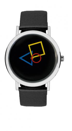 Bauhaus-Armbanduhr »Quadratur des Kreises«, schwarz.