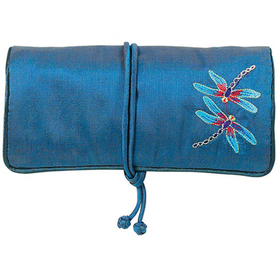 Bestickte Seiden-Schmuckrolle »Tiffany Libellen«, blau.