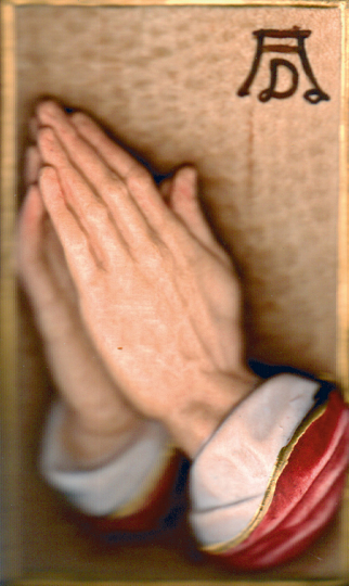 Betende Hände - Miniatur im Etui