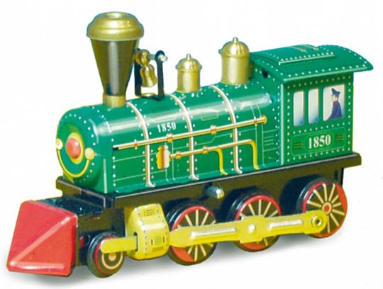 Blechlokomotive von 1850.