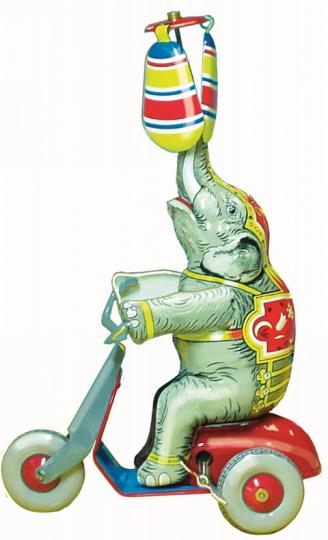 Blechspielzeug »Elefant auf Roller«.
