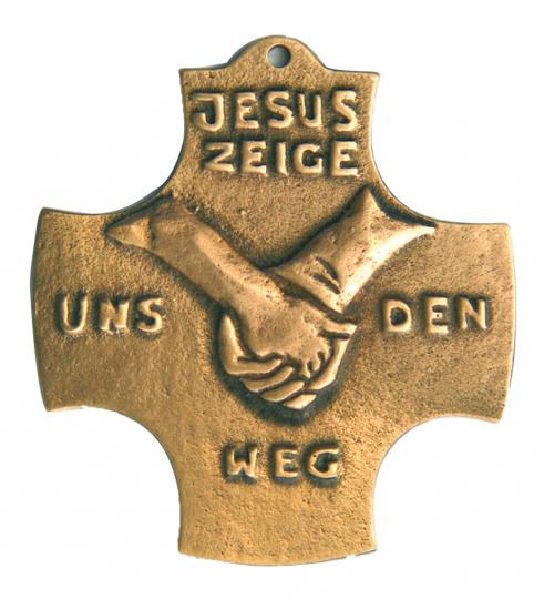 Bronze Kreuz 'Jesus, zeige uns den Weg'