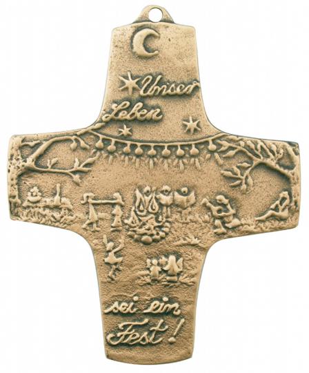 Bronze Kreuz 'Unser Leben sei ein Fest'