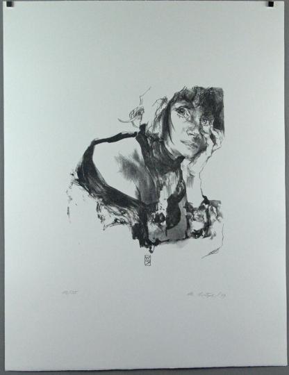 Christoph Wetzel. Nachdenklich. Lithografie.