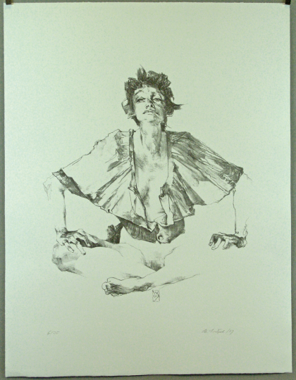 Christoph Wetzel. Sitzend. Lithografie.