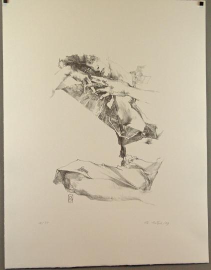 Christoph Wetzel. Zurückgelehnt. Lithografie.