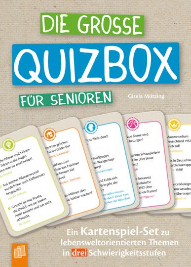 Die große Quizbox für Senioren. Ein Kartenspiel-Set zu lebensweltorientierten Themen in drei Schwierigkeitsstufen.