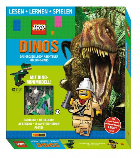 Dinos. Das große Lego Abenteuer für Dino-Fans. Geschenkbox mit Sachbuch, Activitybuch, 1 Poster, 1 Stickerbogen, 20 Spielfiguren aus Pappe und Lego Figur.
