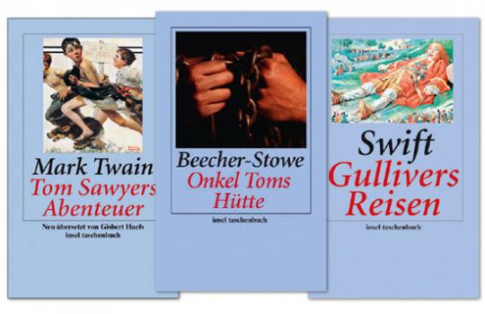 Drei Klassiker der Weltliteratur im Set: Tom Sawyer, Gullivers Reisen und Onkel Toms Hütte.
