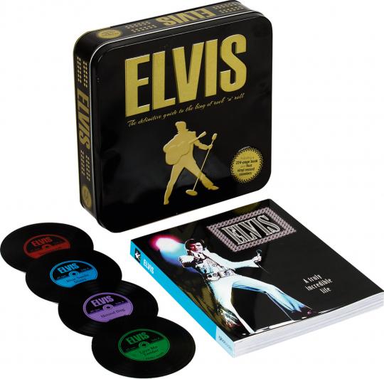 Elvis. The Definitive Guide to the King of Rock'n'Roll. Mit vier Untersetzern im Vinyl-Design.