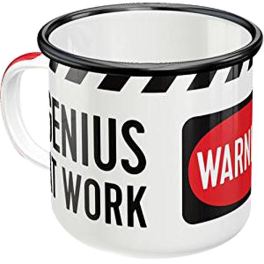 Emaille-Becher »Genius at work«.