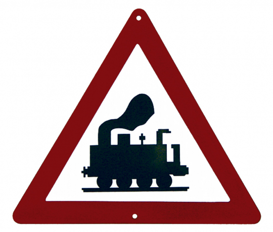 Emaille-Schild 'Unbeschrankter Bahnübergang'
