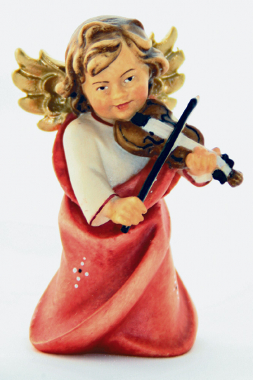 Holzfigur Engel mit Geige, 7 cm.