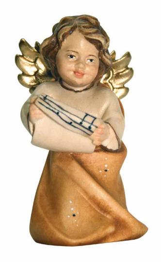 Holzfigur Engel mit Notenblatt.