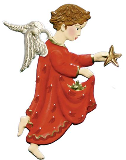 Engel mit Stern. Zinnanhänger.