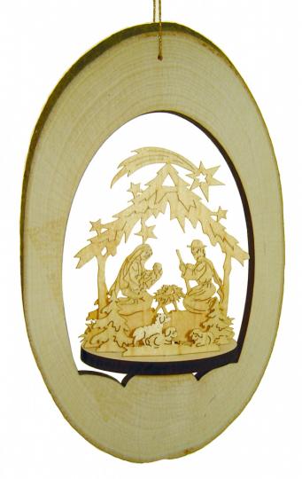 Fensterbild/Deckenhänger Weihnachtskrippe - Handgefertigter Weihnachtsschmuck aus Holz