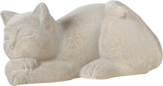 Liegende Katze aus Keramik.