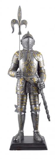 Figur Ritter Mordred mit Pentagramm, Hellebarde und Schwert