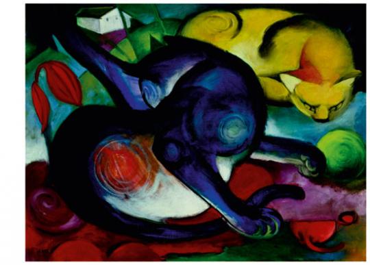 Franz Marc »Zwei Katzen, blau und gelb«.