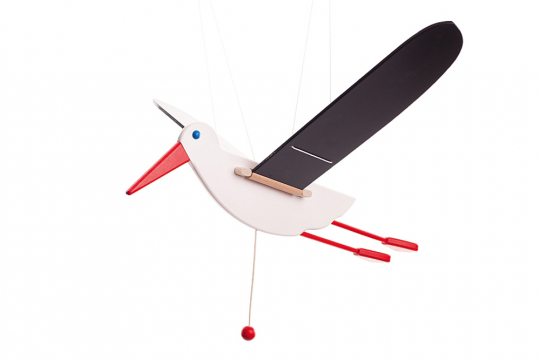 Großes Mobile »Storch« aus Holz.