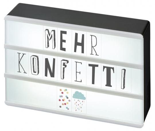Happy Me Lichtbox. LED-Dekoleuchte im Stil alter Kino-Leuchtreklamen.