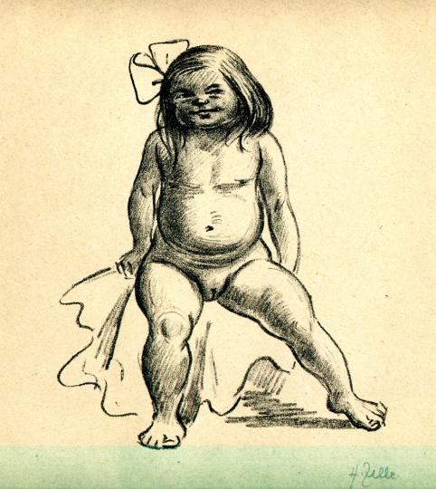Heinrich Zille. Sitzender Mädchenakt.