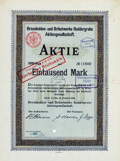 Historische Aktie Braunkohle 1000 Mark 1909