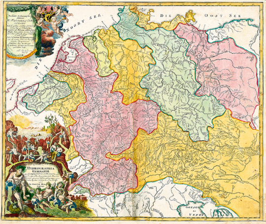 Historische Flußlaufkarte - Hydrographia Germaniae 1712 (Plano) wohl älteste Flußlauf-Karte Deutschlands
