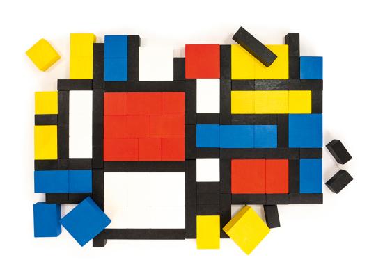 Holz-Bauklötze »Mondrian«.