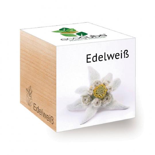 Holzwürfel mit Edelweiß-Samen.