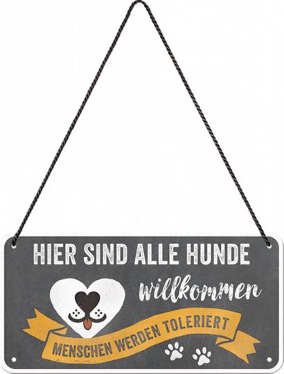 Hängeschild »Hunde willkommen«.
