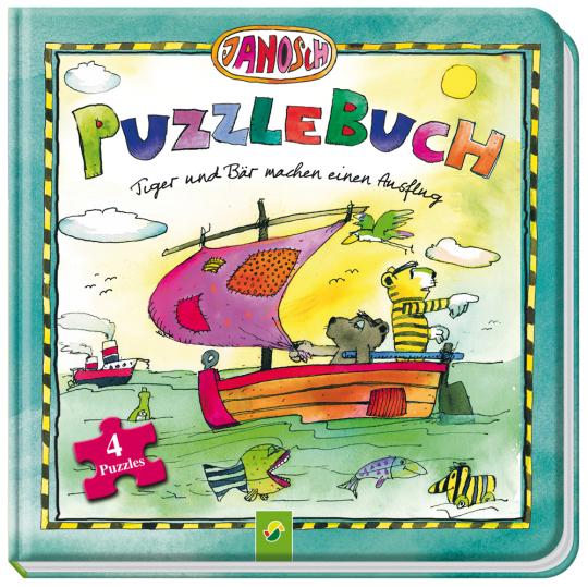 Janosch Puzzlebuch. Tiger und Bär machen einen Ausflug. Mit 4 Puzzles zu je 12 Teilen.