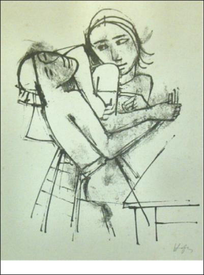 Karl Hofer. Zwei Mädchen am Tisch.