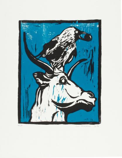 Kat Menschik. »Dohle und Stier« Original-Holzschnitt.
