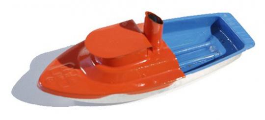 Kerzenboot mit Hütte, farblich gemischt.