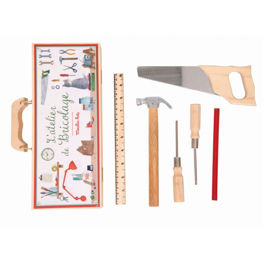 Kleiner Werkzeugkoffer für Kinder.