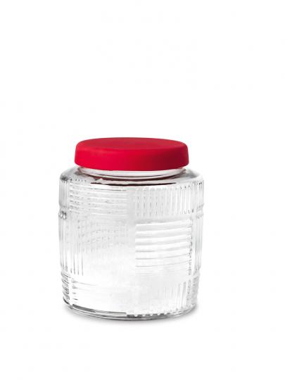 Kleines Aufbewahrungsglas, rot.